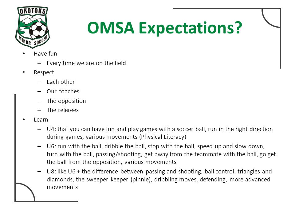 OMSA Expectations.
