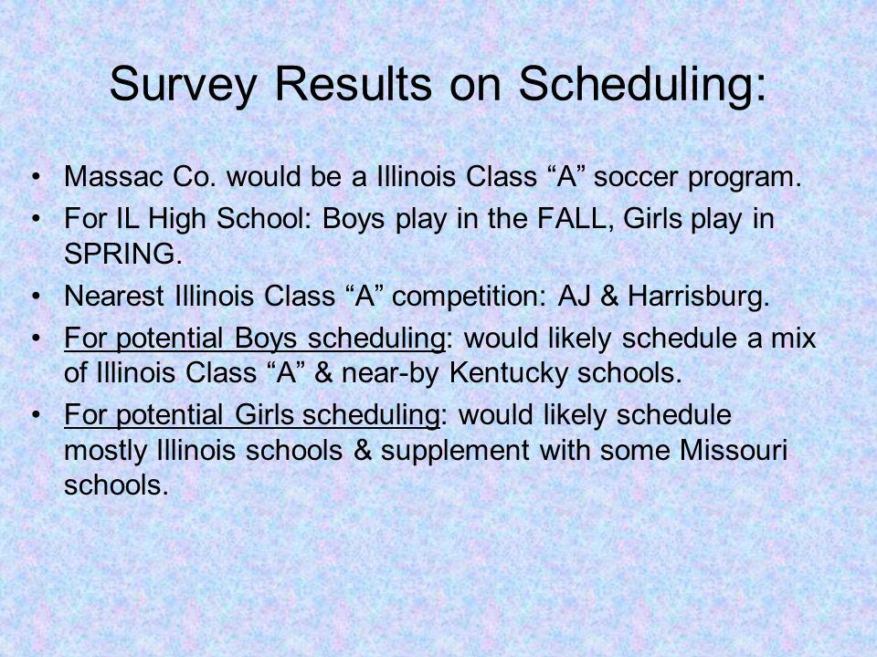"""Massac Co. would be a Illinois Class """"A"""" soccer program. For IL High School: Boys play in the FALL, Girls play in SPRING. Nearest Illinois Class """"A"""" c"""