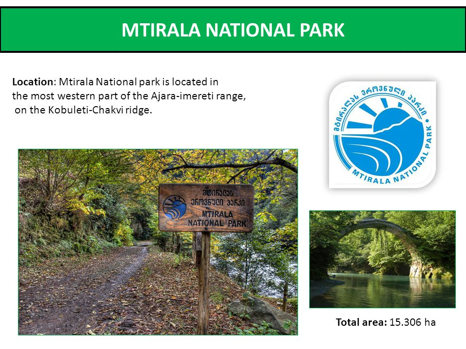 MTIRALA NATIONAL PARK Location: Mtirala National park is located in the most western part of the Ajara-imereti range, on the Kobuleti-Chakvi ridge.