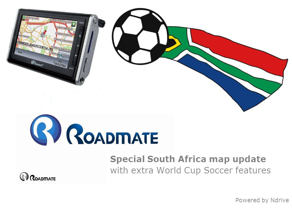 Special South Africa map update with extra World Cup Soccer features Powered by Ndrive
