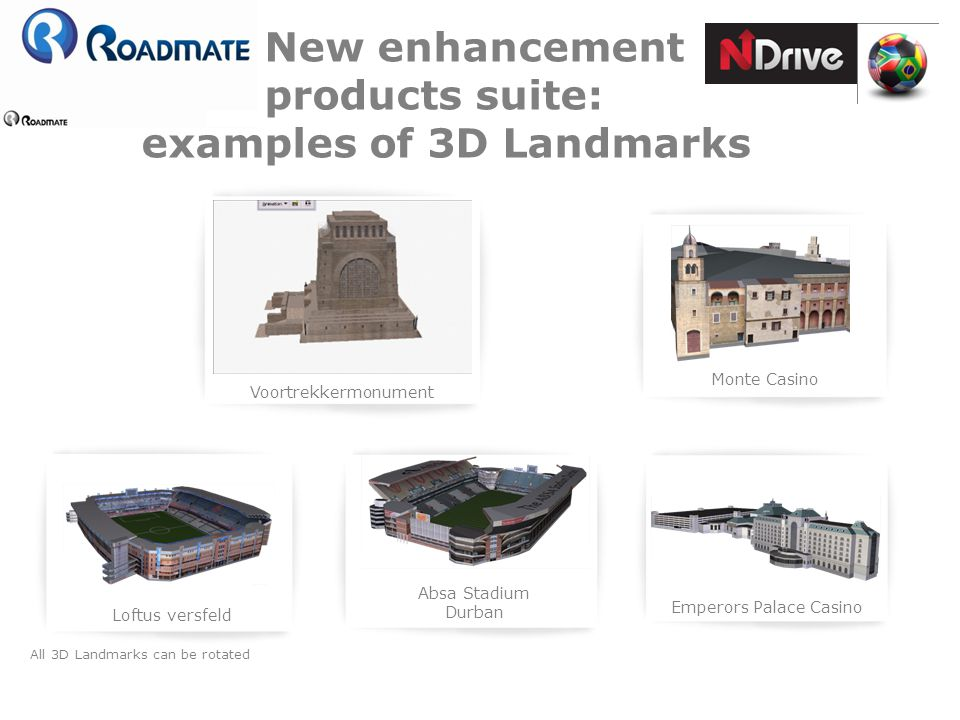 New enhancement products suite: examples of 3D Landmarks Voortrekkermonument Monte Casino Loftus versfeld Emperors Palace Casino Absa Stadium Durban A