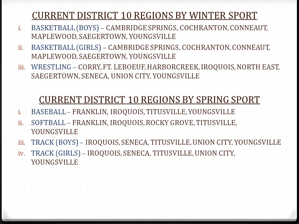i. BASKETBALL (BOYS) – CAMBRIDGE SPRINGS, COCHRANTON, CONNEAUT, MAPLEWOOD, SAEGERTOWN, YOUNGSVILLE ii. BASKETBALL (GIRLS) – CAMBRIDGE SPRINGS, COCHRAN
