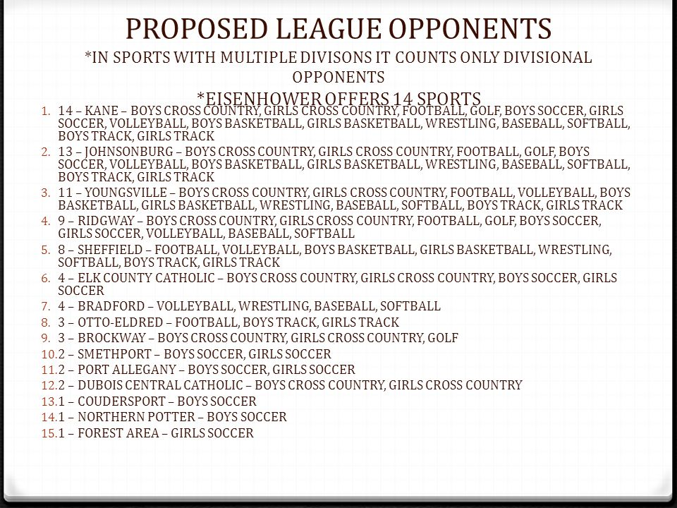 PROPOSED LEAGUE OPPONENTS *IN SPORTS WITH MULTIPLE DIVISONS IT COUNTS ONLY DIVISIONAL OPPONENTS *EISENHOWER OFFERS 14 SPORTS 1. 14 – KANE – BOYS CROSS