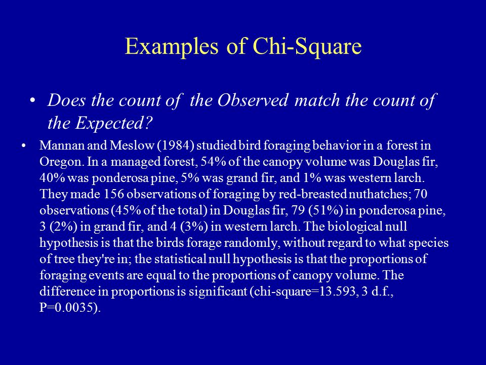Examples of Chi-Square Does the count of the Observed match the count of the Expected.