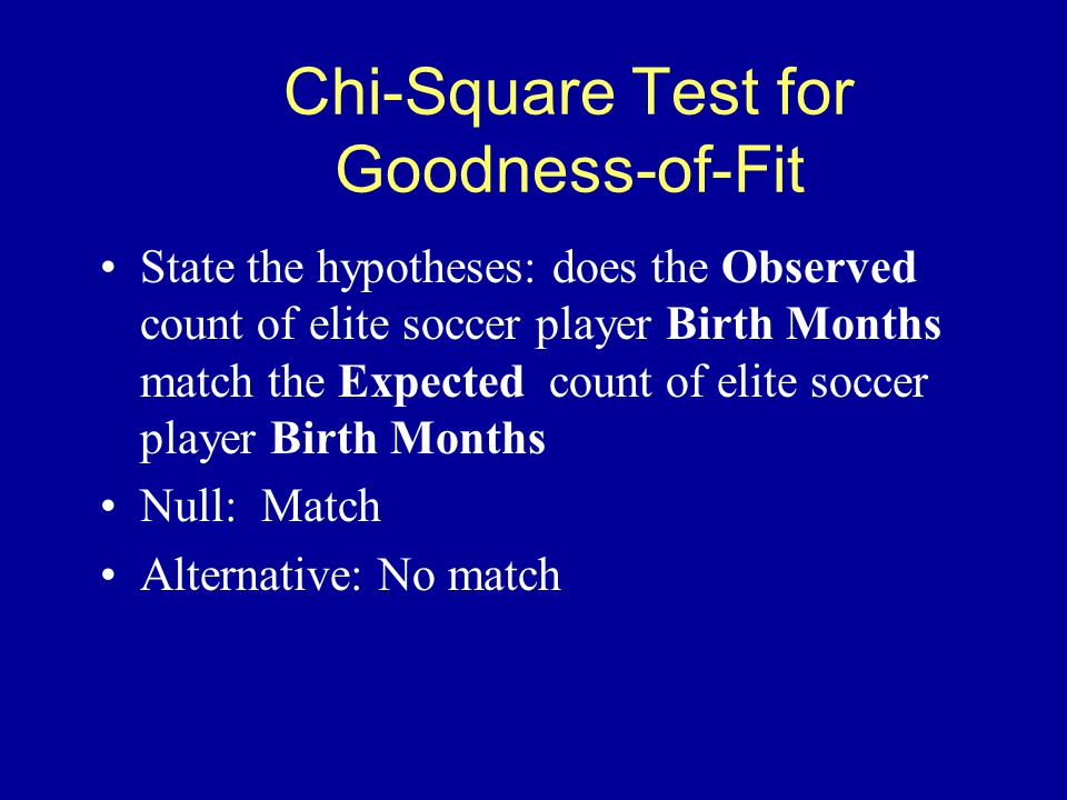 Chi-Square Test for Goodness-of-Fit State the hypotheses: does the Observed count of elite soccer player Birth Months match the Expected count of elite soccer player Birth Months Null: Match Alternative: No match