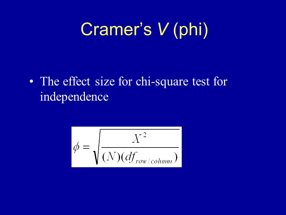Cramer's V (phi) The effect size for chi-square test for independence