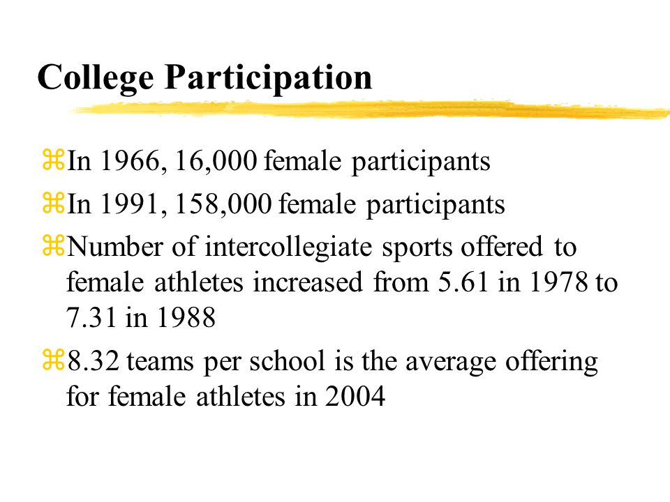 College Participation zIn 1966, 16,000 female participants zIn 1991, 158,000 female participants zNumber of intercollegiate sports offered to female a
