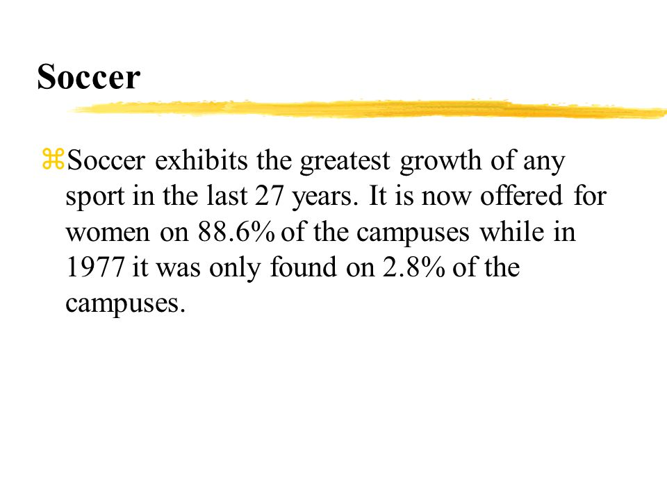 Soccer zSoccer exhibits the greatest growth of any sport in the last 27 years.