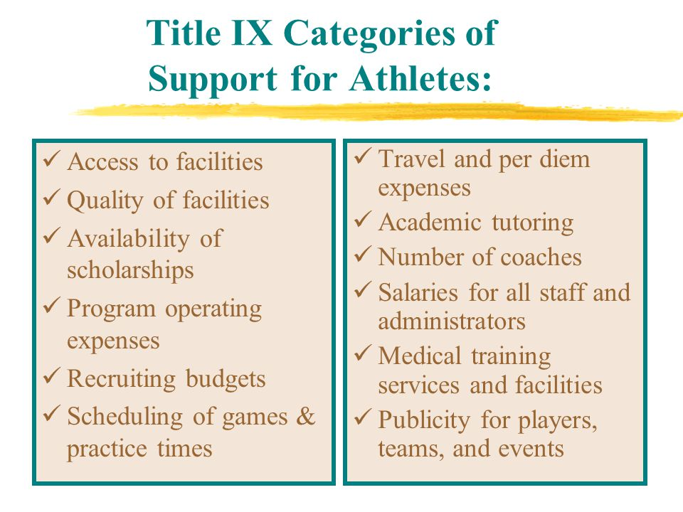 Title IX Categories of Support for Athletes: Access to facilities Quality of facilities Availability of scholarships Program operating expenses Recruiting budgets Scheduling of games & practice times Travel and per diem expenses Academic tutoring Number of coaches Salaries for all staff and administrators Medical training services and facilities Publicity for players, teams, and events