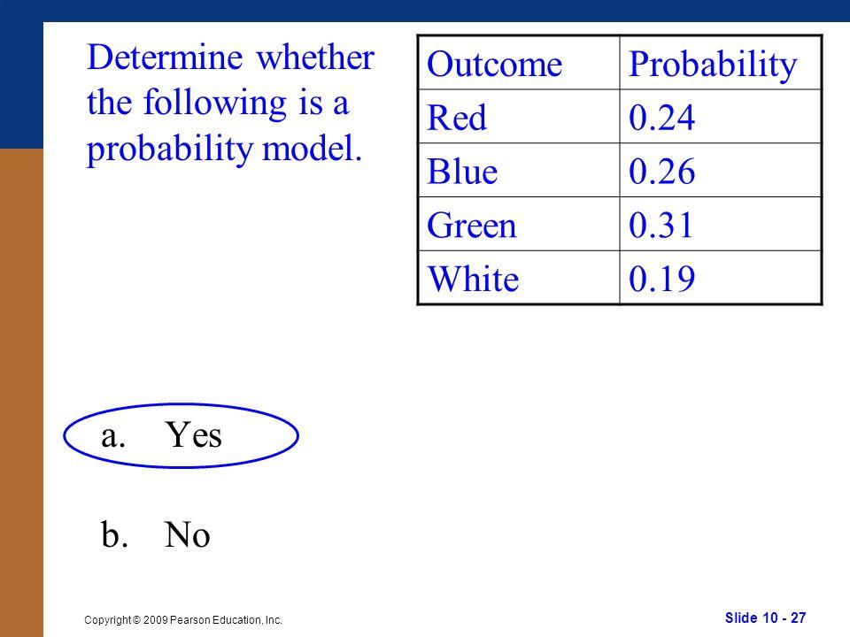 Slide 10 - 27 Copyright © 2009 Pearson Education, Inc.