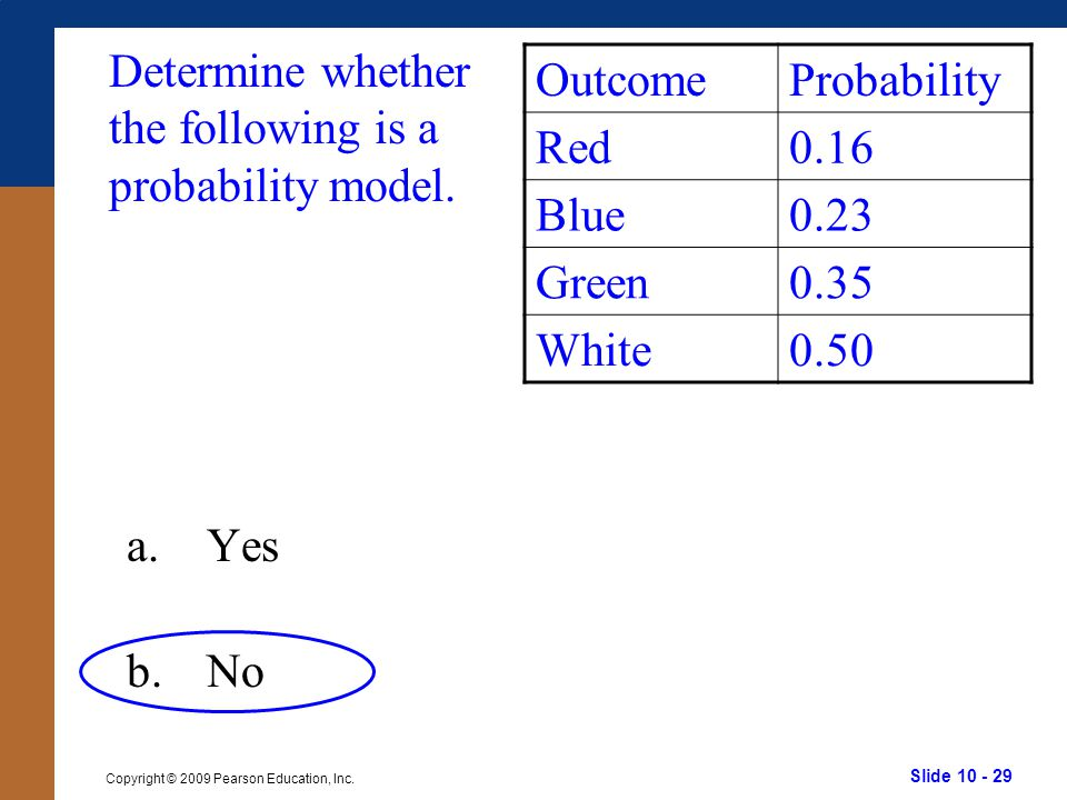 Slide 10 - 29 Copyright © 2009 Pearson Education, Inc.