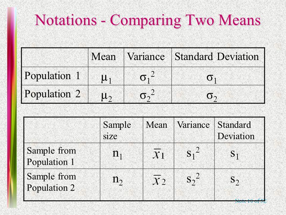 Note 10 of 5E Notations - Comparing Two Means MeanVarianceStandard Deviation Population 1 µ 1 σ 1 2 σ 1 Population 2 µ 2 σ 2 2 σ 2 Sample size MeanVar