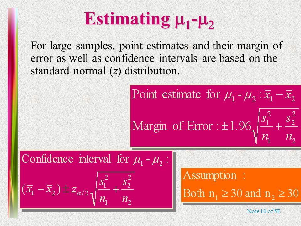 Note 10 of 5E Estimating  1 -   For large samples, point estimates and their margin of error as well as confidence intervals are based on the stand
