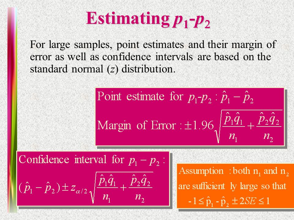 Note 10 of 5E Estimating p 1 -p  For large samples, point estimates and their margin of error as well as confidence intervals are based on the standard normal (z) distribution.