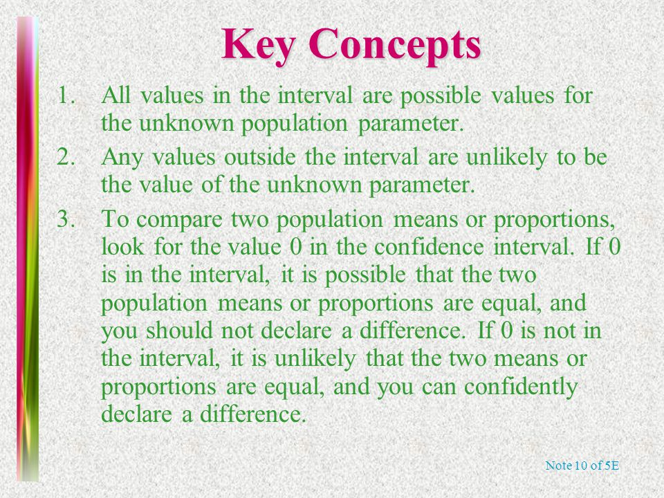 Note 10 of 5E Key Concepts 1.All values in the interval are possible values for the unknown population parameter. 2.Any values outside the interval ar