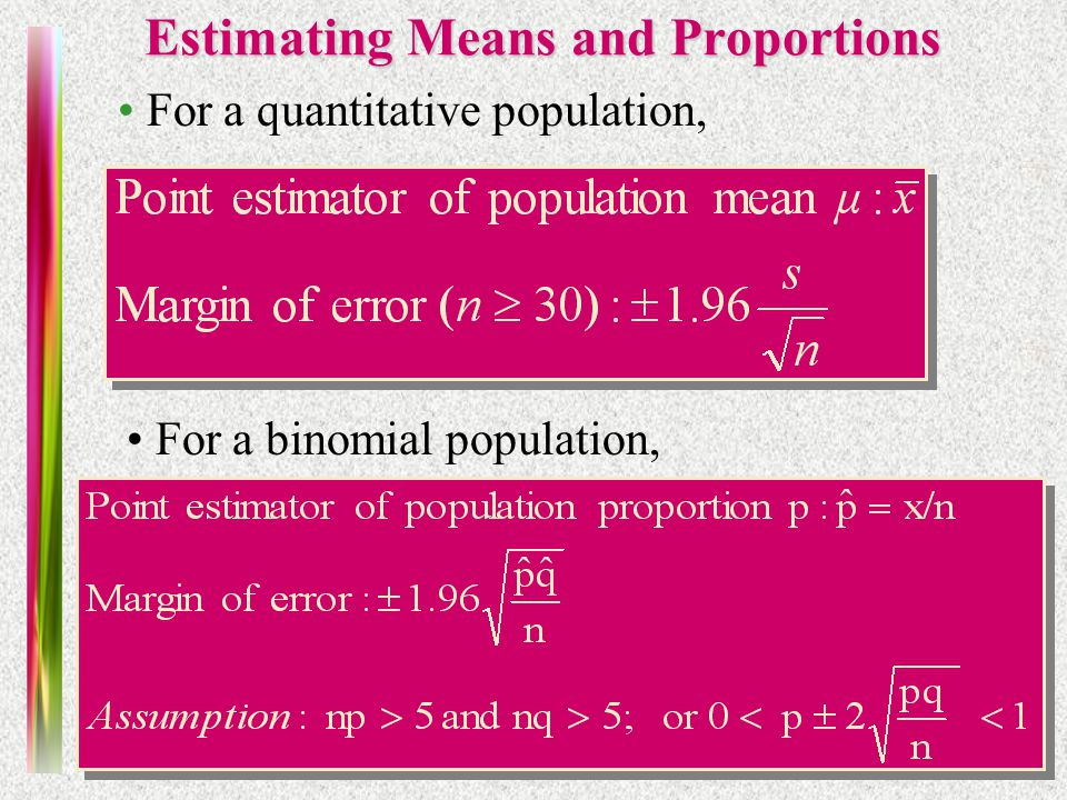 Note 10 of 5E Estimating Means and Proportions For a quantitative population, For a binomial population,