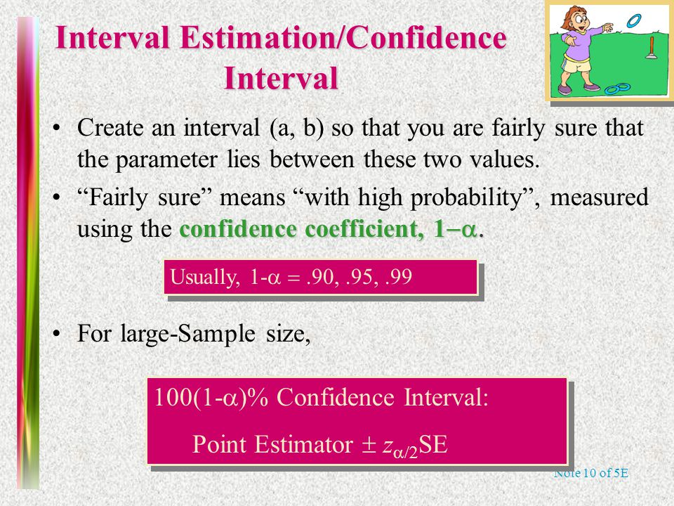 Note 10 of 5E Interval Estimation/Confidence Interval Create an interval (a, b) so that you are fairly sure that the parameter lies between these two values.