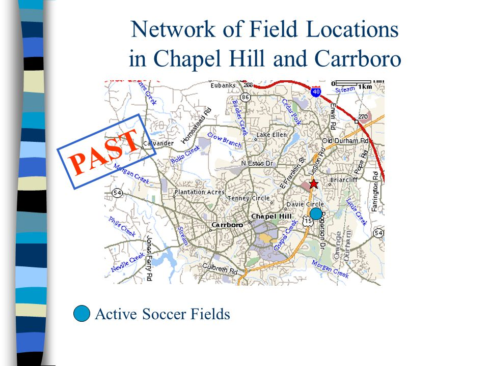 Network of Field Locations in Chapel Hill and Carrboro PAST Active Soccer Fields