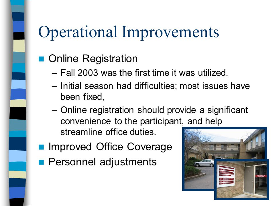 Operational Improvements Online Registration –Fall 2003 was the first time it was utilized.