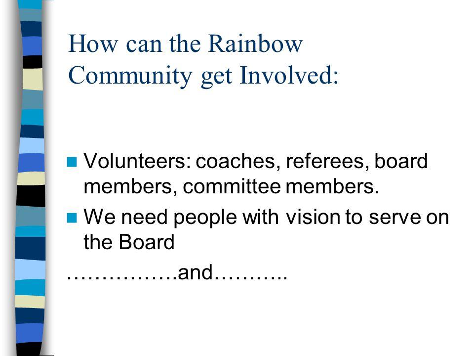 Volunteers: coaches, referees, board members, committee members.