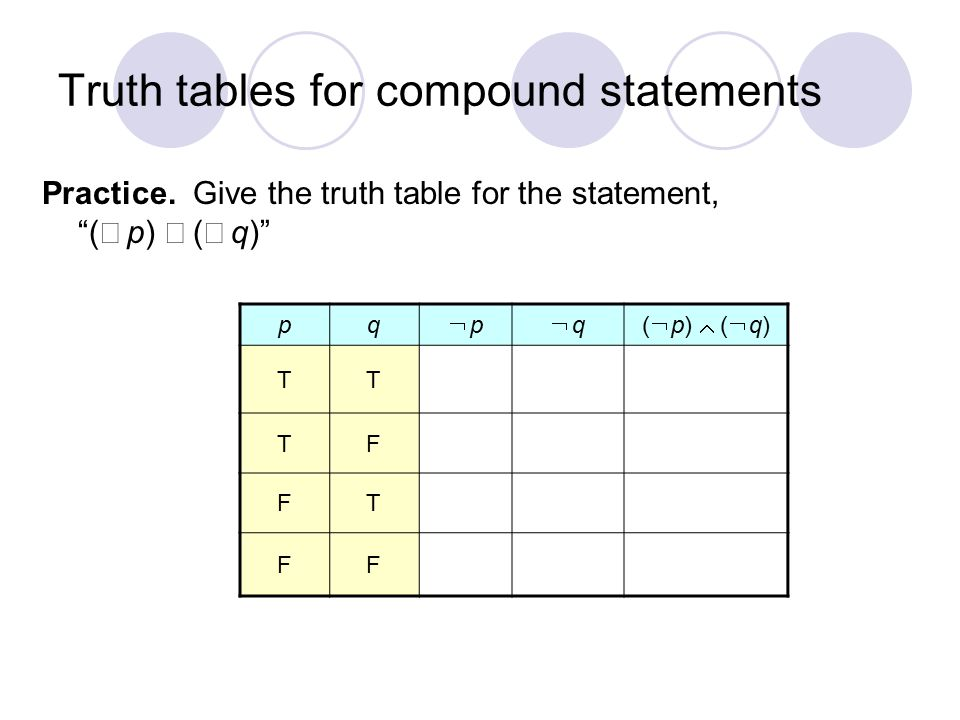 "Truth tables for compound statements Practice. Give the truth table for the statement, ""(  p)  (  q)"" pq  p p  q q(  p)  (  q) TT TF FT FF"