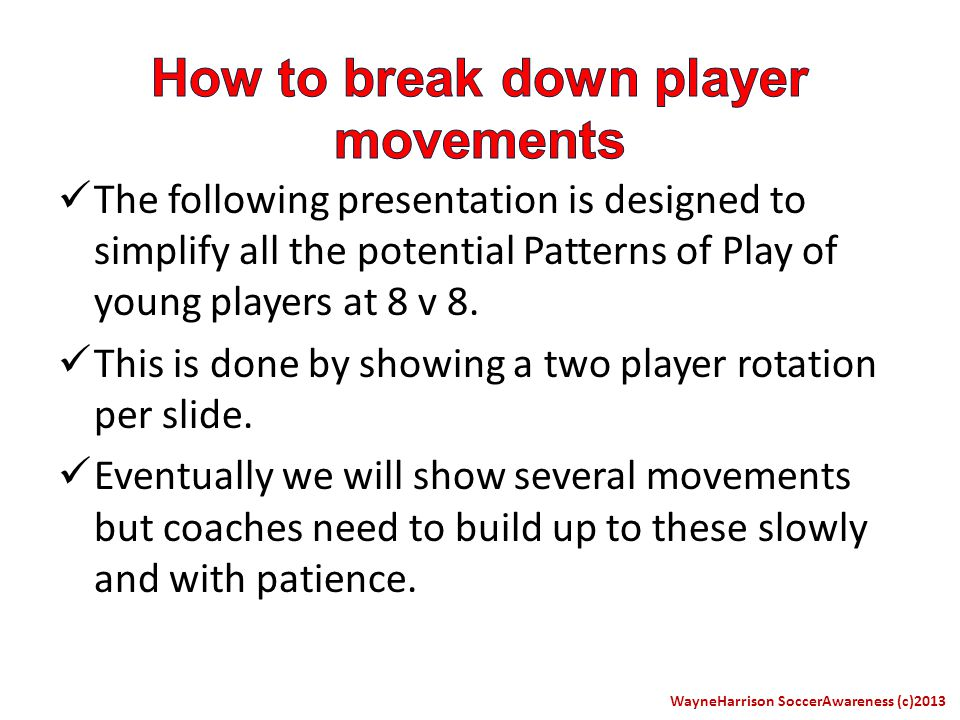 The following presentation is designed to simplify all the potential Patterns of Play of young players at 8 v 8.