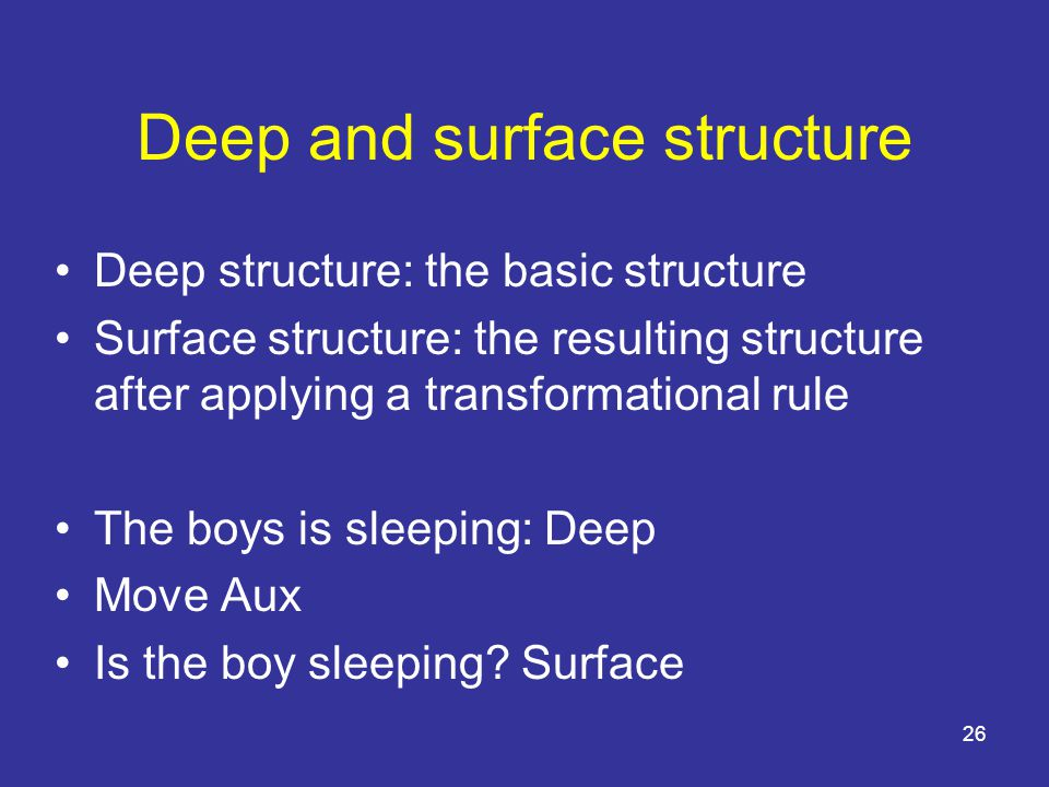 26 Deep and surface structure Deep structure: the basic structure Surface structure: the resulting structure after applying a transformational rule The boys is sleeping: Deep Move Aux Is the boy sleeping.