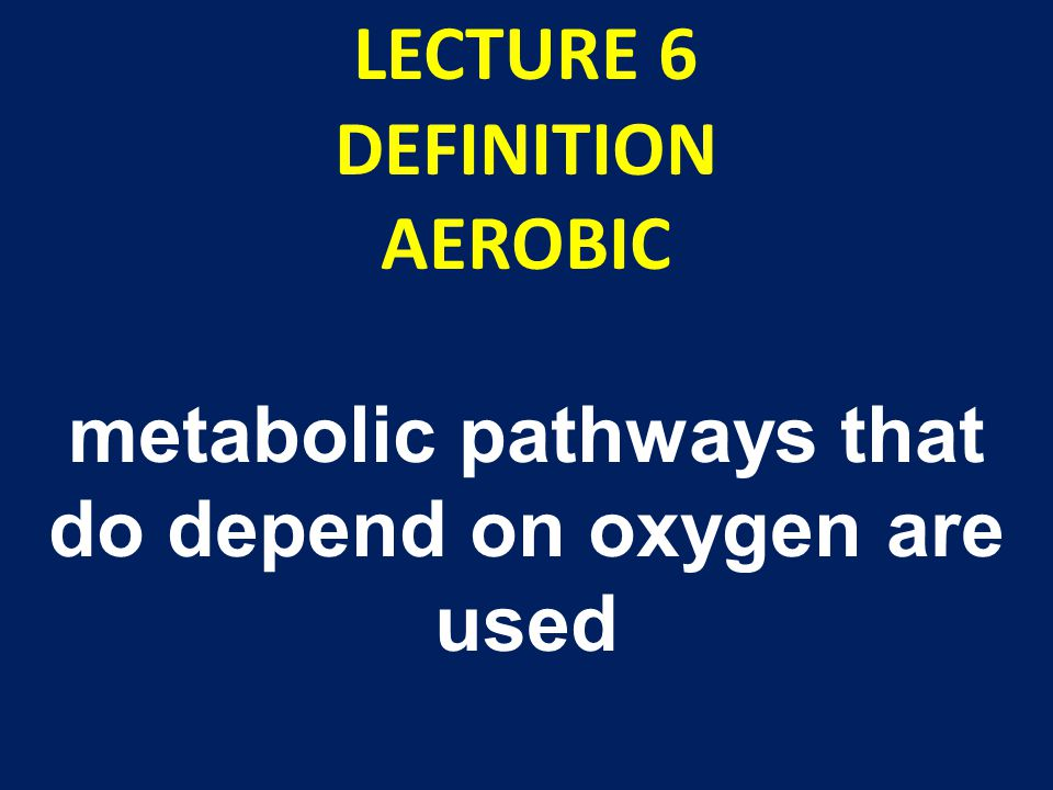 LECTURE 6 DEFINITION AEROBIC metabolic pathways that do depend on oxygen are used