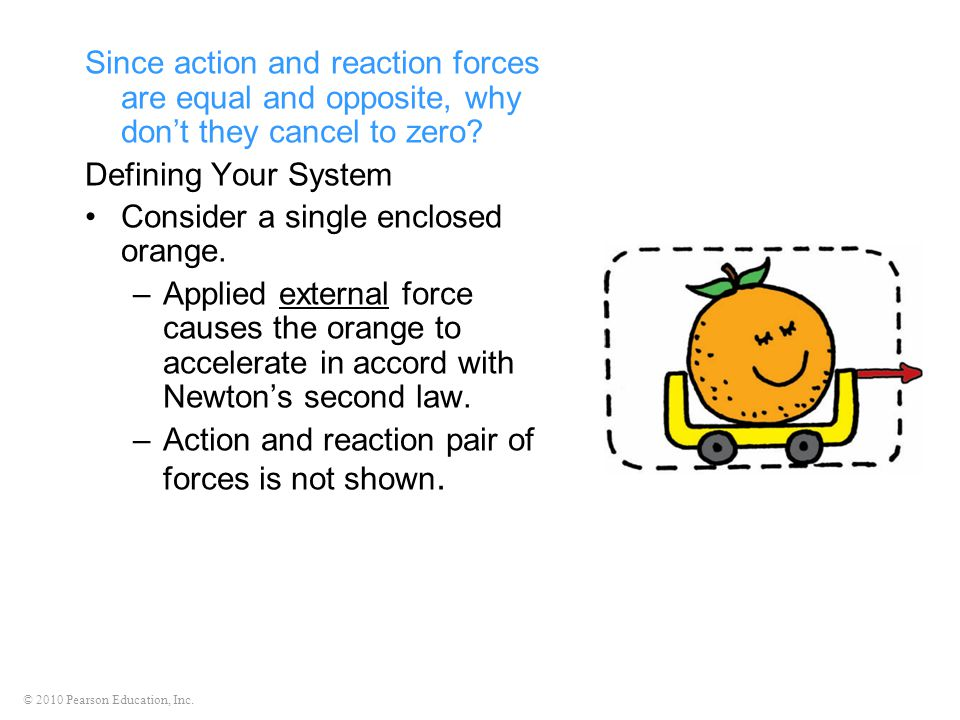 © 2010 Pearson Education, Inc. Since action and reaction forces are equal and opposite, why don't they cancel to zero? Defining Your System Consider a