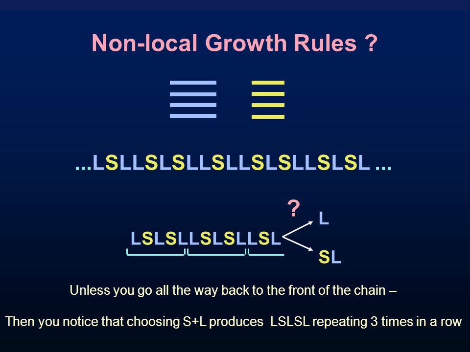 Non-local Growth Rules ?...LSLLSLSLLSLLSLSLLSLSL...