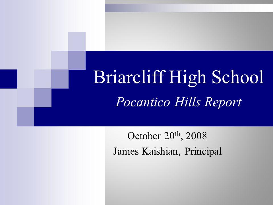 Briarcliff High School Pocantico Hills Report October 20 th, 2008 James Kaishian, Principal
