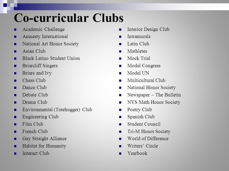 Co-curricular Clubs Academic Challenge Amnesty International National Art Honor Society Asian Club Black Latino Student Union Briarcliff Singers Briar