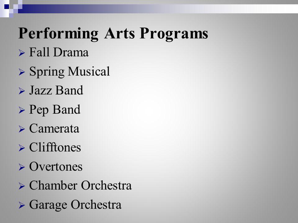 Performing Arts Programs  Fall Drama  Spring Musical  Jazz Band  Pep Band  Camerata  Clifftones  Overtones  Chamber Orchestra  Garage Orchestra