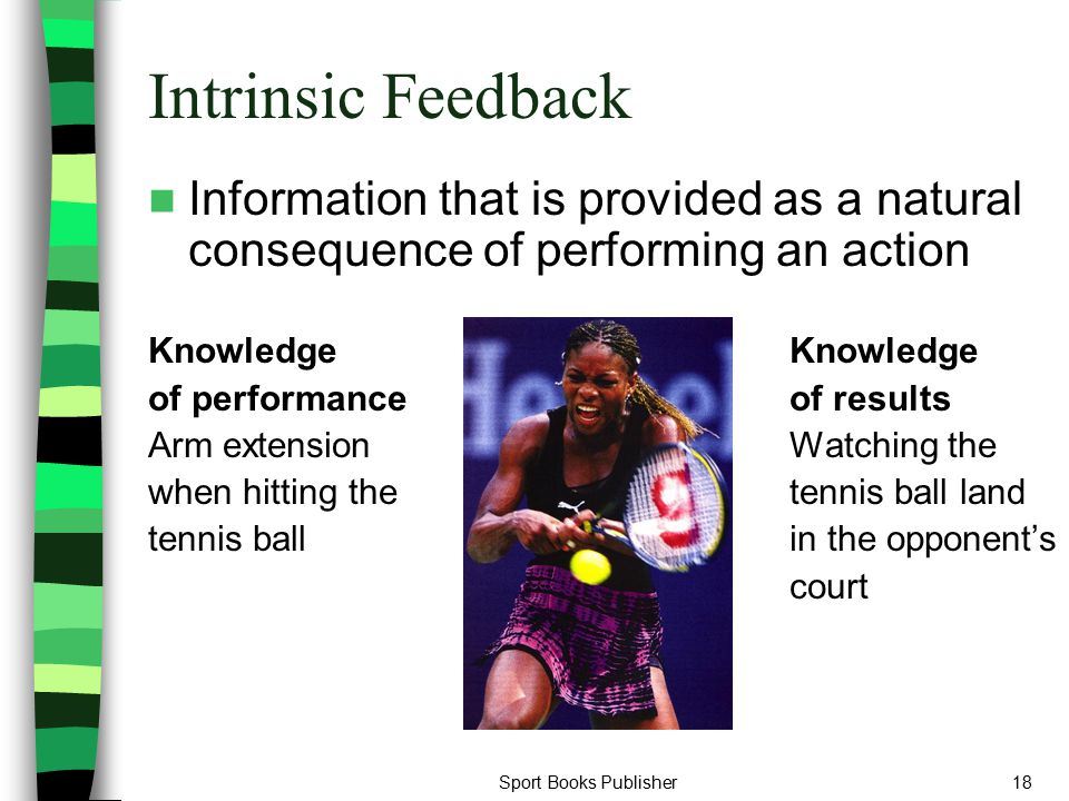 Sport Books Publisher18 Intrinsic Feedback Information that is provided as a natural consequence of performing an action Knowledge of performanceof re