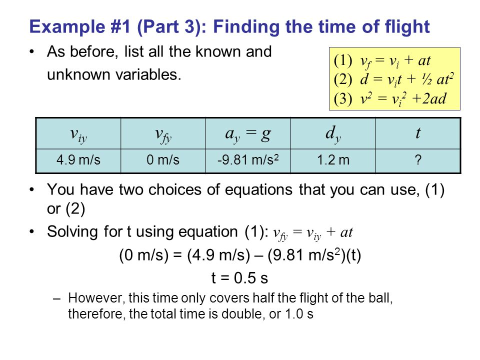 Example #1 (Part 3): Finding the time of flight As before, list all the known and unknown variables.
