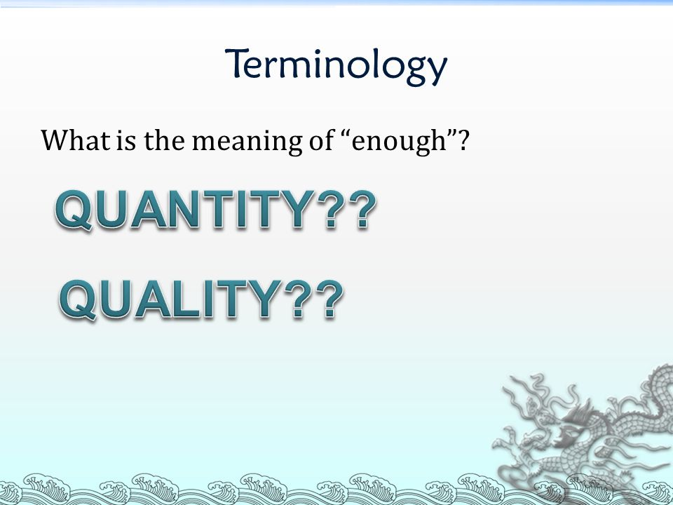 Terminology Which aspect of facilities did we focus on.