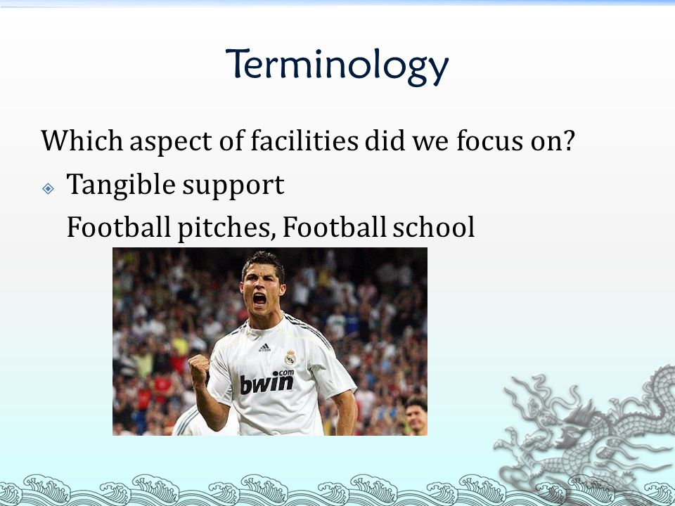 Problems: Quantity of football pitch is much less than those in Europe Only link up to the Eastern District Squad but not HK team and the first division league teams of Hong Kong Links up with the Arsenal football club but no successful case No training program provide to children after 12