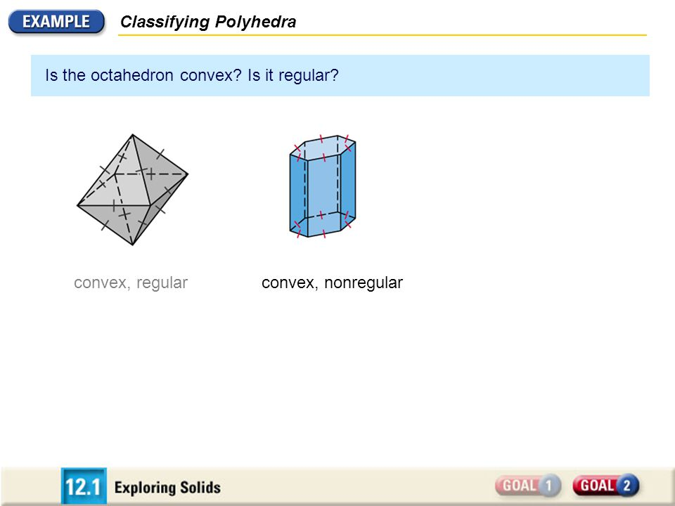 Classifying Polyhedra Is the octahedron convex? Is it regular? convex, regularconvex, nonregular