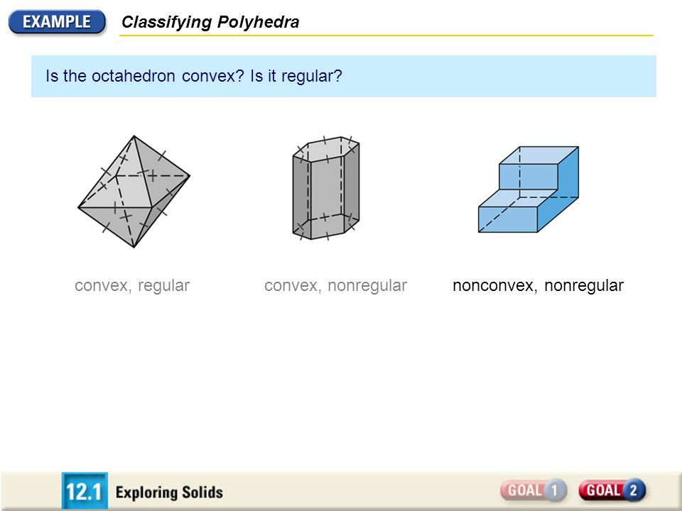 Classifying Polyhedra Is the octahedron convex? Is it regular? convex, regularconvex, nonregularnonconvex, nonregular