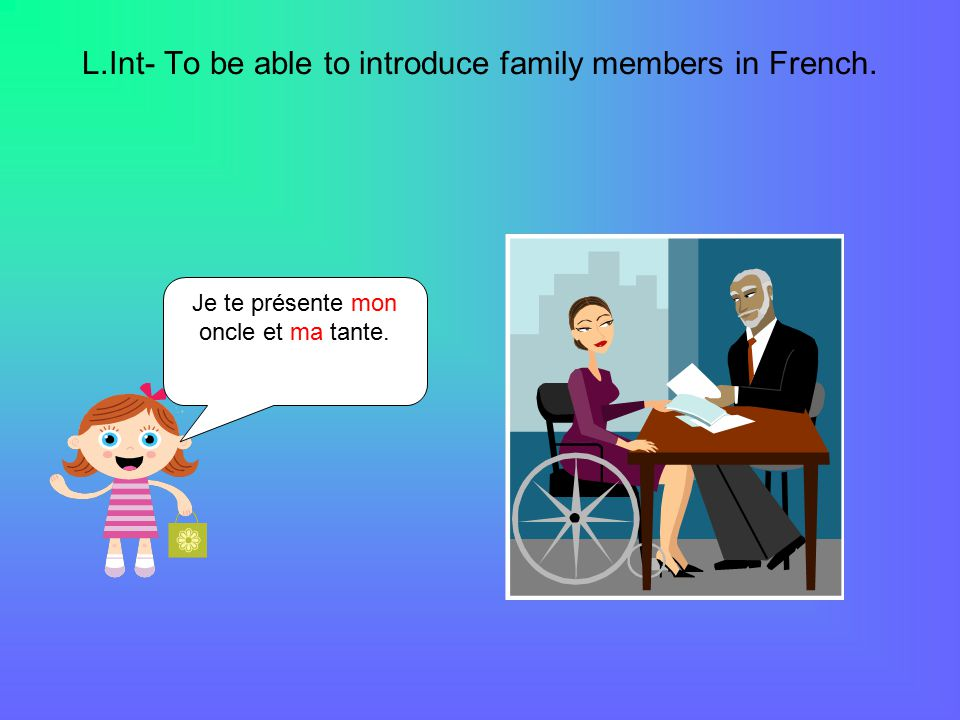 L.Int- To be able to introduce family members in French. Je te présente mon oncle et ma tante.