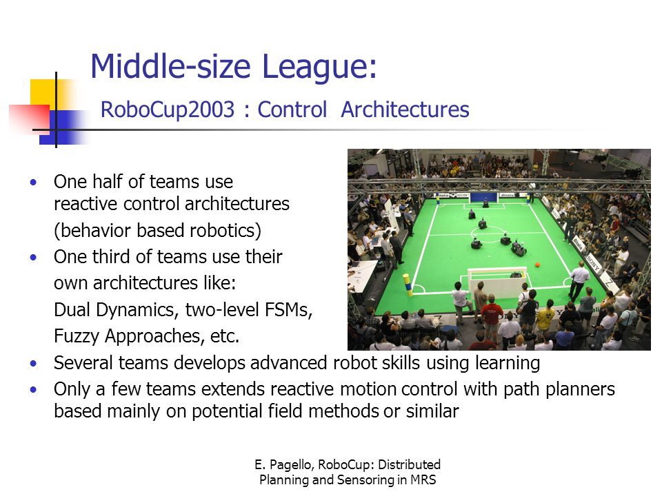 E. Pagello, RoboCup: Distributed Planning and Sensoring in MRS Middle-size League: RoboCup2003 : Control Architectures One half of teams use reactive