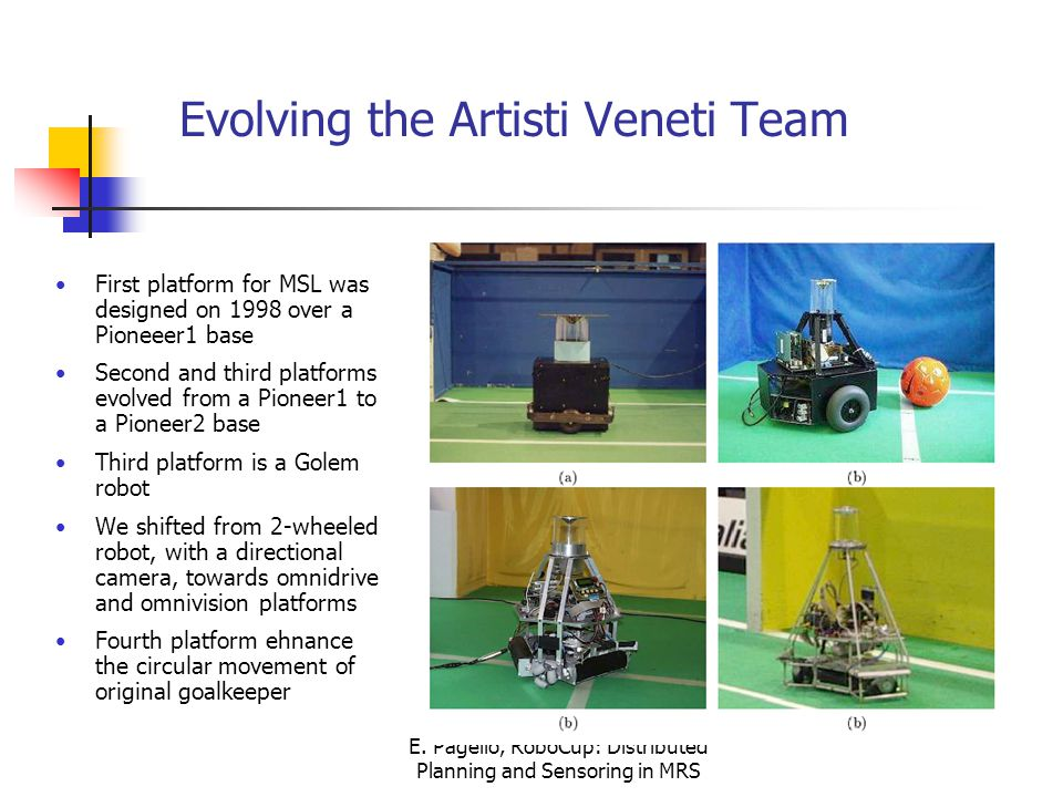 E. Pagello, RoboCup: Distributed Planning and Sensoring in MRS Evolving the Artisti Veneti Team First platform for MSL was designed on 1998 over a Pio