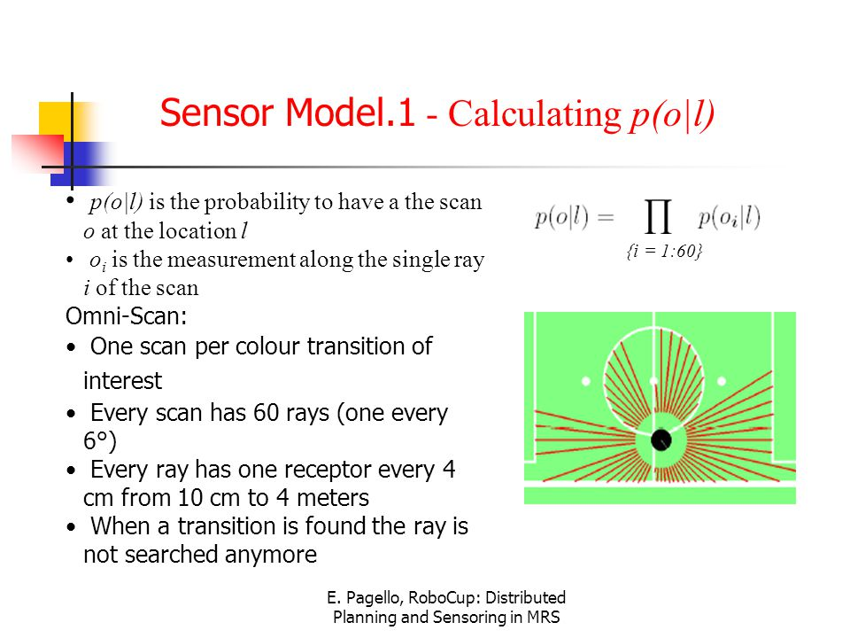 E. Pagello, RoboCup: Distributed Planning and Sensoring in MRS Sensor Model.1 - Calculating p(o|l) p(o|l) is the probability to have a the scan o at t
