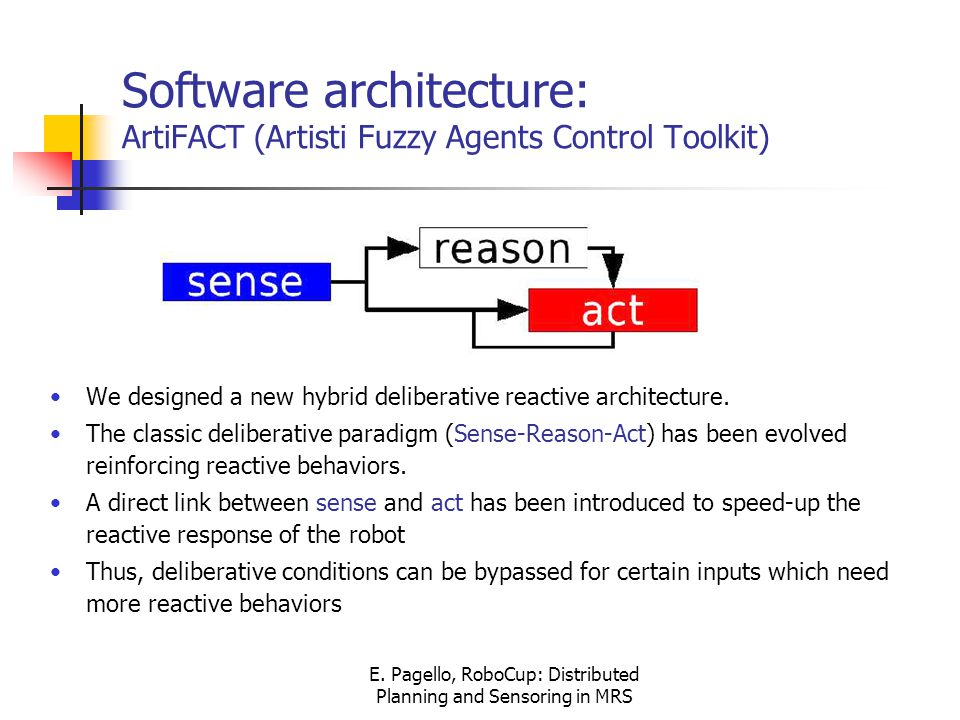 E. Pagello, RoboCup: Distributed Planning and Sensoring in MRS Software architecture: ArtiFACT (Artisti Fuzzy Agents Control Toolkit) We designed a ne