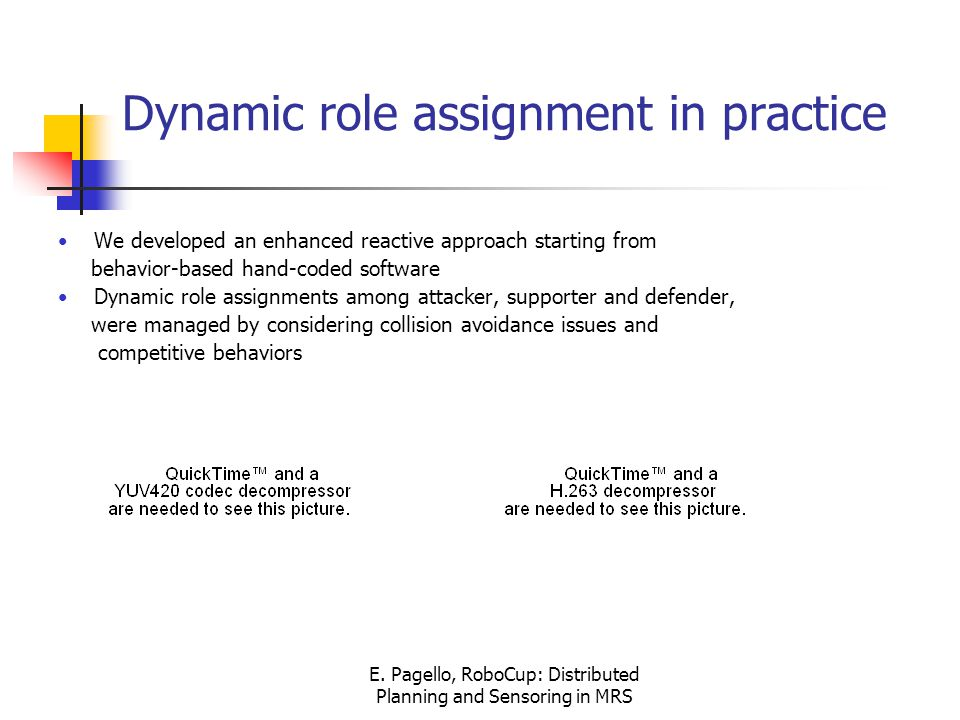 E. Pagello, RoboCup: Distributed Planning and Sensoring in MRS Dynamic role assignment in practice We developed an enhanced reactive approach starting