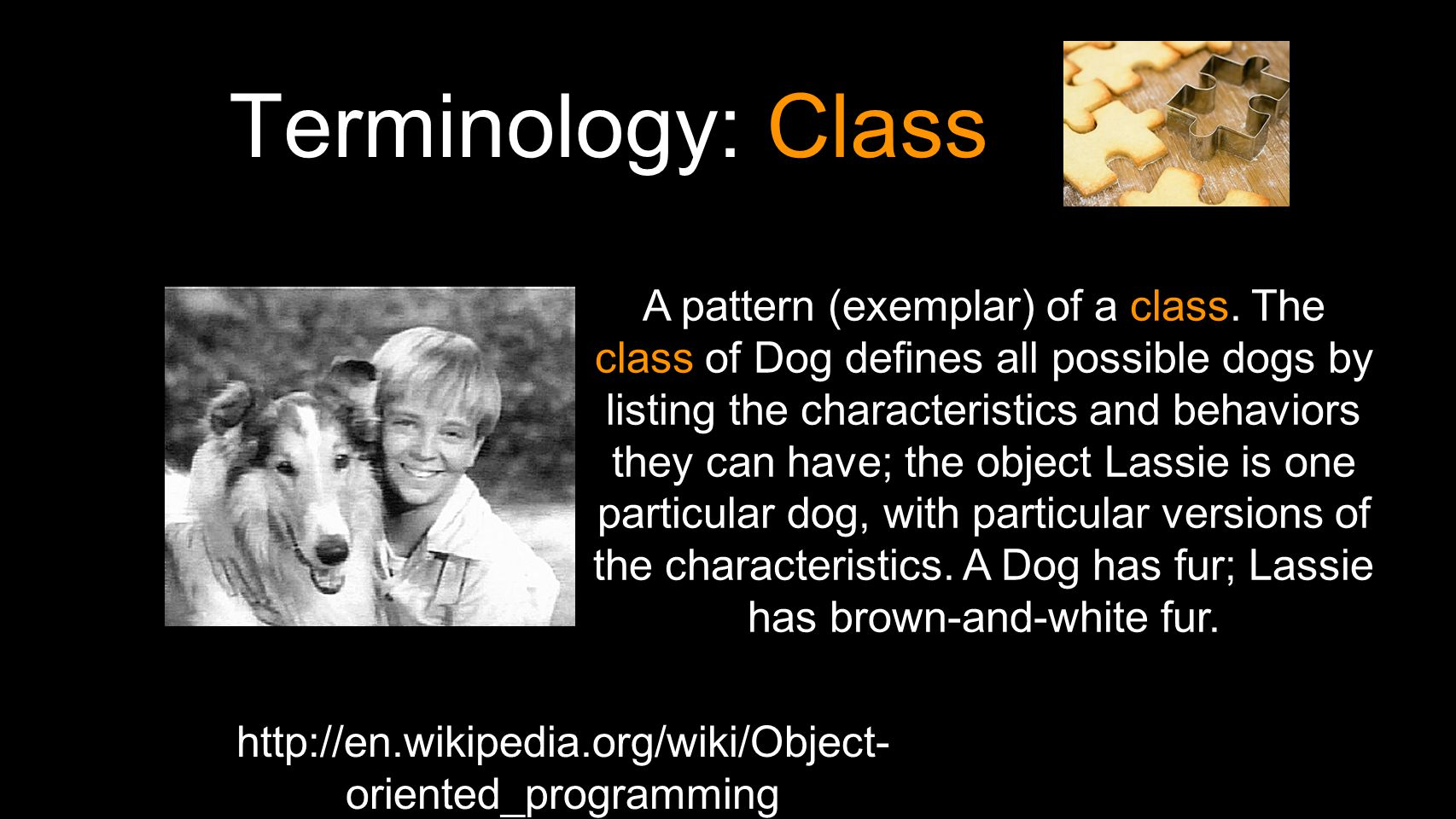 Terminology: Class http://en.wikipedia.org/wiki/Object- oriented_programming A pattern (exemplar) of a class.