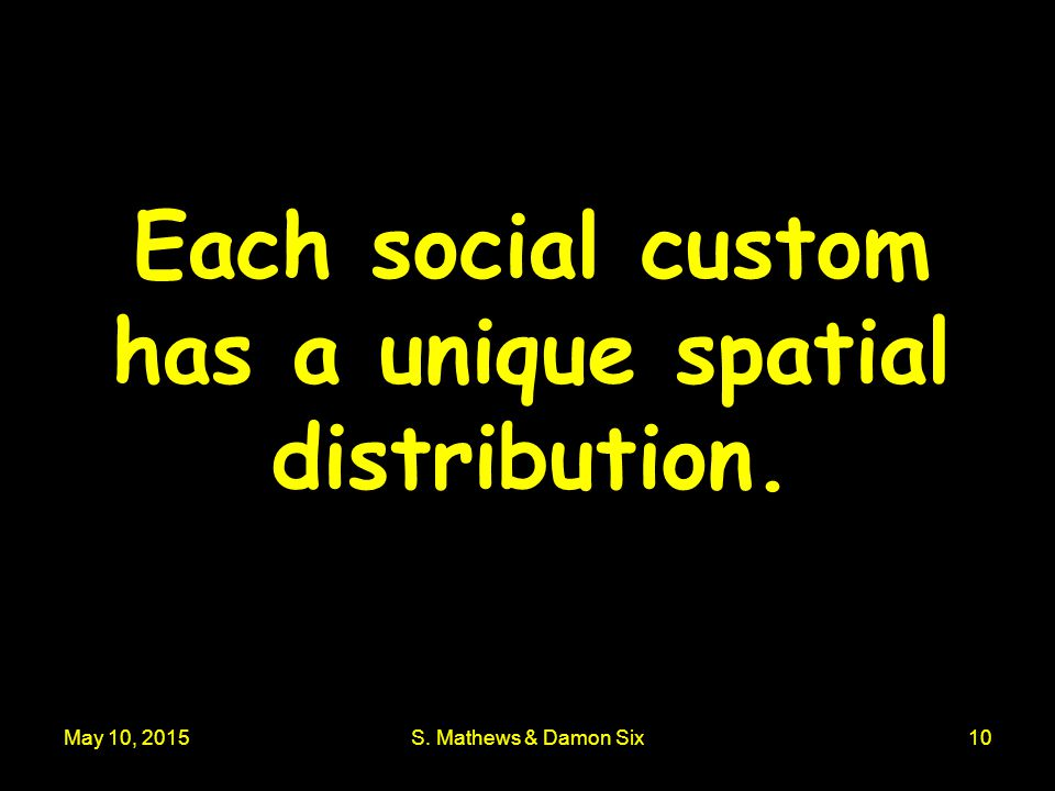 May 10, 2015S. Mathews & Damon Six10 Each social custom has a unique spatial distribution.