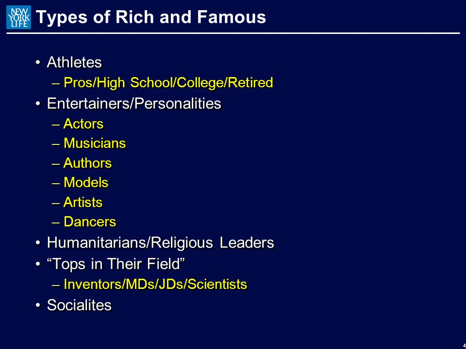 Types of Rich and Famous Athletes –Pros/High School/College/Retired Entertainers/Personalities –Actors –Musicians –Authors –Models –Artists –Dancers Humanitarians/Religious Leaders Tops in Their Field –Inventors/MDs/JDs/Scientists Socialites Athletes –Pros/High School/College/Retired Entertainers/Personalities –Actors –Musicians –Authors –Models –Artists –Dancers Humanitarians/Religious Leaders Tops in Their Field –Inventors/MDs/JDs/Scientists Socialites 4