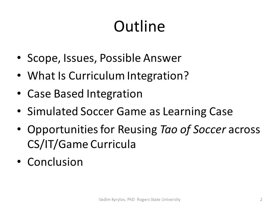 Outline Scope, Issues, Possible Answer What Is Curriculum Integration.