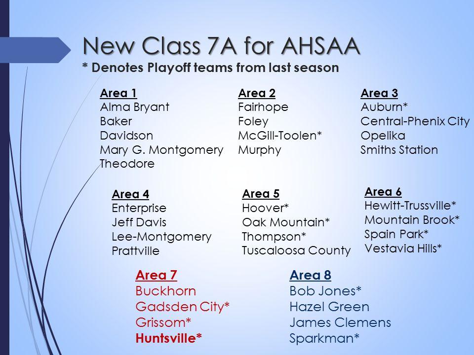 New Class 7A for AHSAA New Class 7A for AHSAA * Denotes Playoff teams from last season Area 2 Fairhope Foley McGill-Toolen* Murphy Area 3 Auburn* Central-Phenix City Opelika Smiths Station Area 1 Alma Bryant Baker Davidson Mary G.